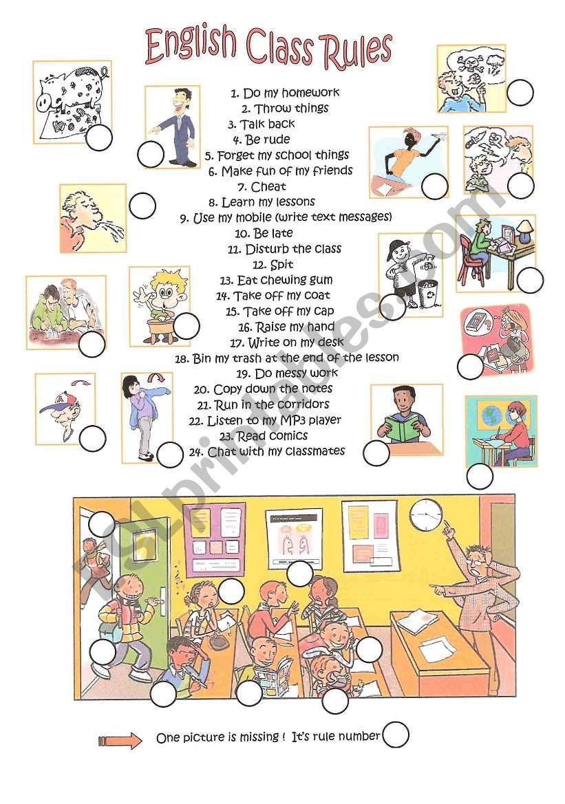 E,glish class rules worksheet