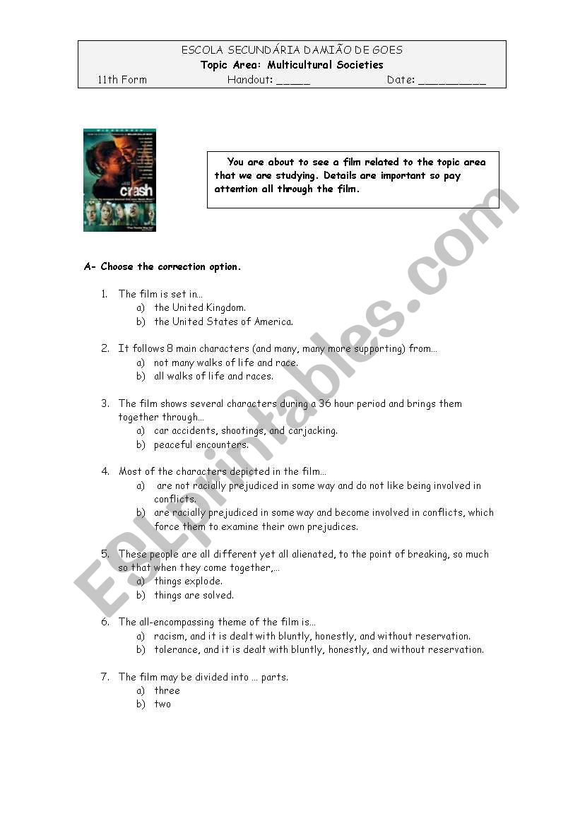 Crash, the Film worksheet