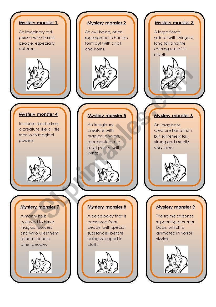 Halloween mystery monsters worksheet