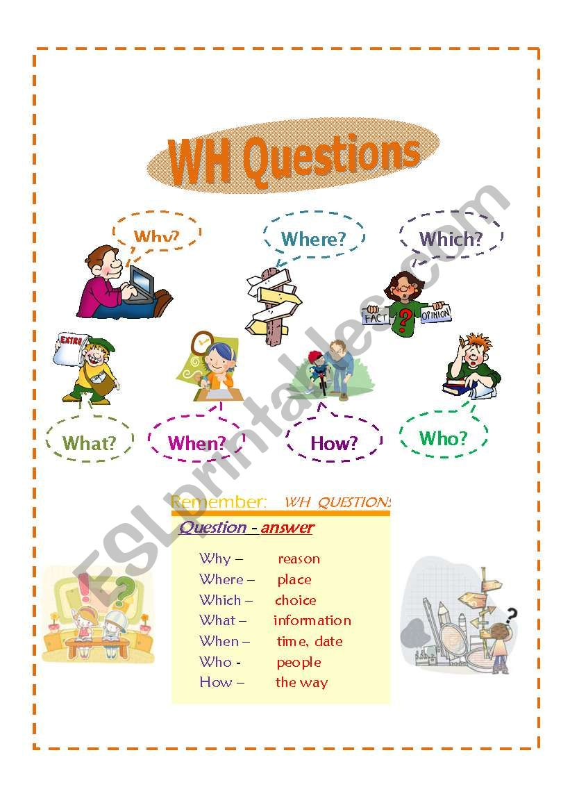 WH Questions/ question words worksheet
