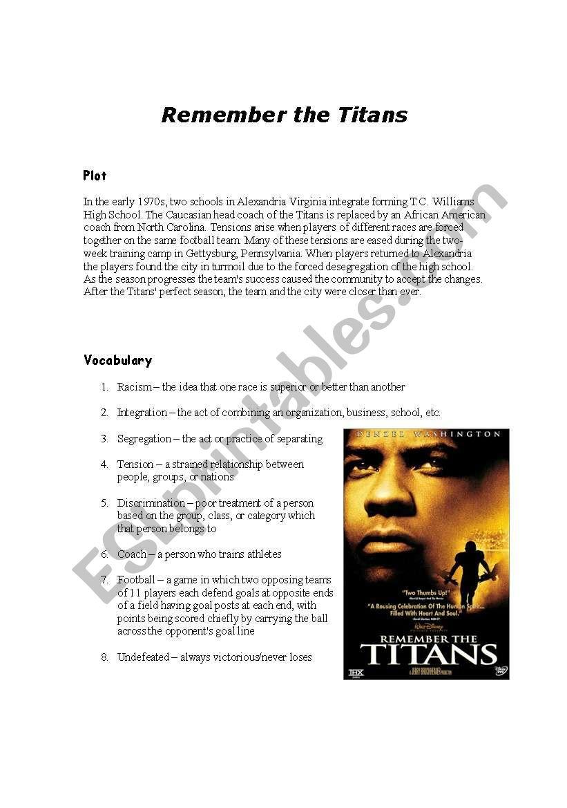 Remember The Titans Esl Worksheet By Westonw