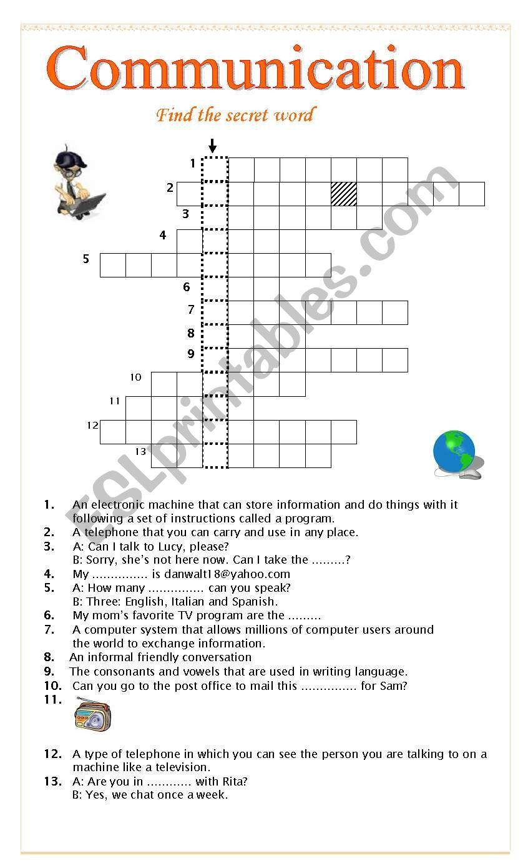 Communication Crossword Esl Worksheet By Pink4 Virginia
