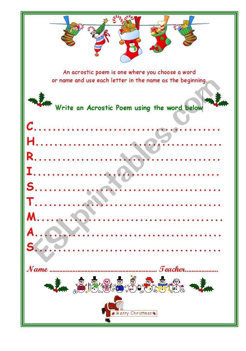 christmas acrostic esl worksheet by venezababi