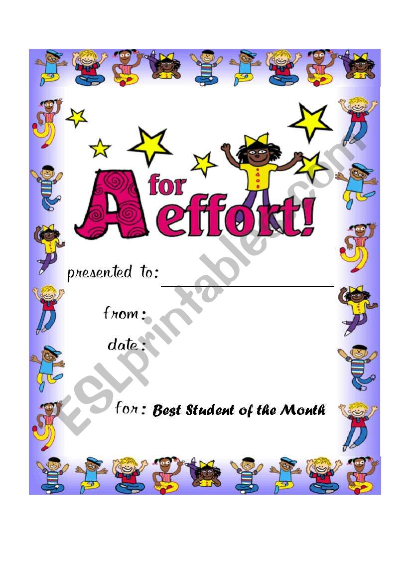 Award worksheet
