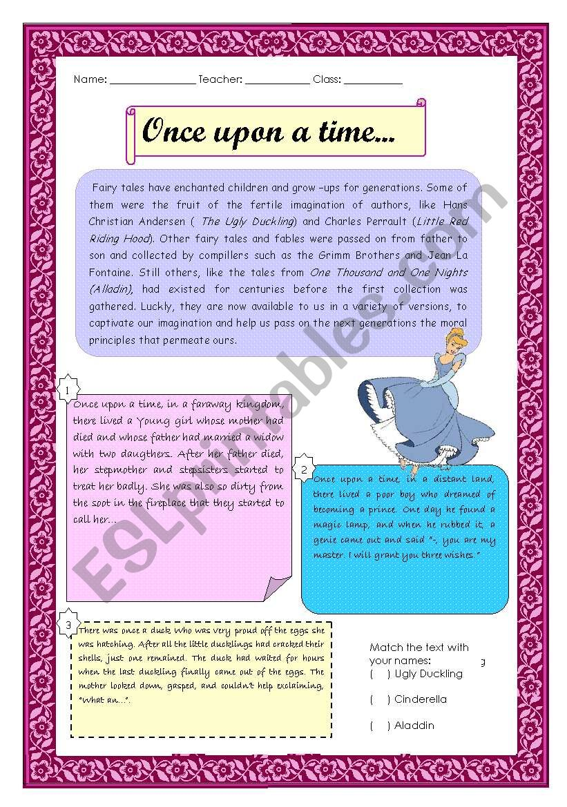 Fairy tales - reading - ESL worksheet by Melly Poulain
