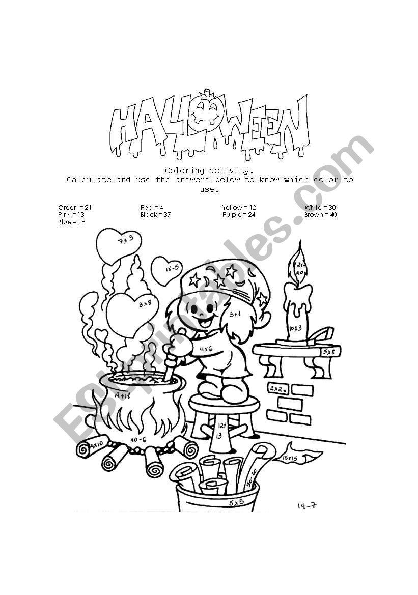 Haloween coloring worksheet