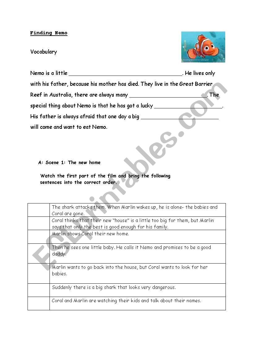 worksheet Finding Nemo Worksheet english worksheets finding nemo woksheet video worksheet