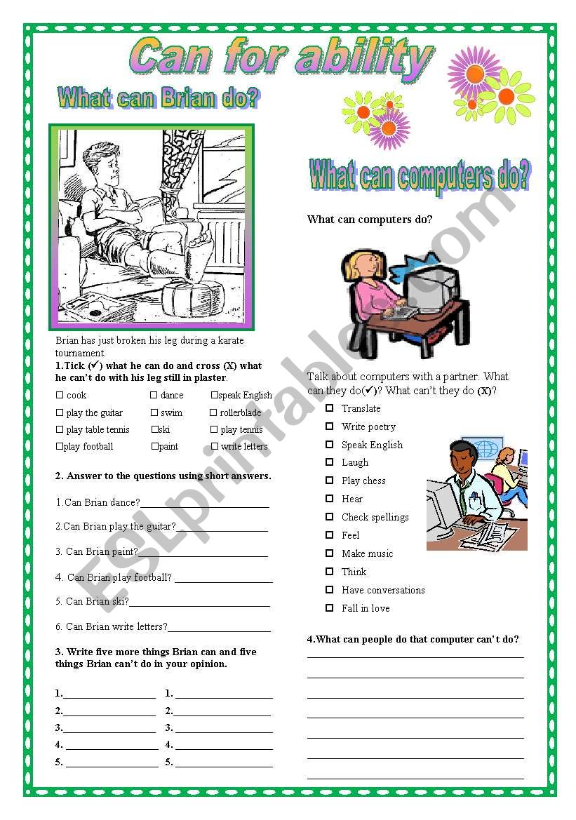 Can for ability worksheet