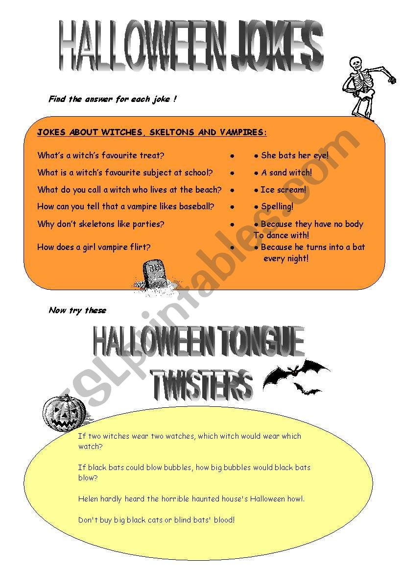 English Worksheets HALLOWEEN JOKES AND TONGUE TWISTERS