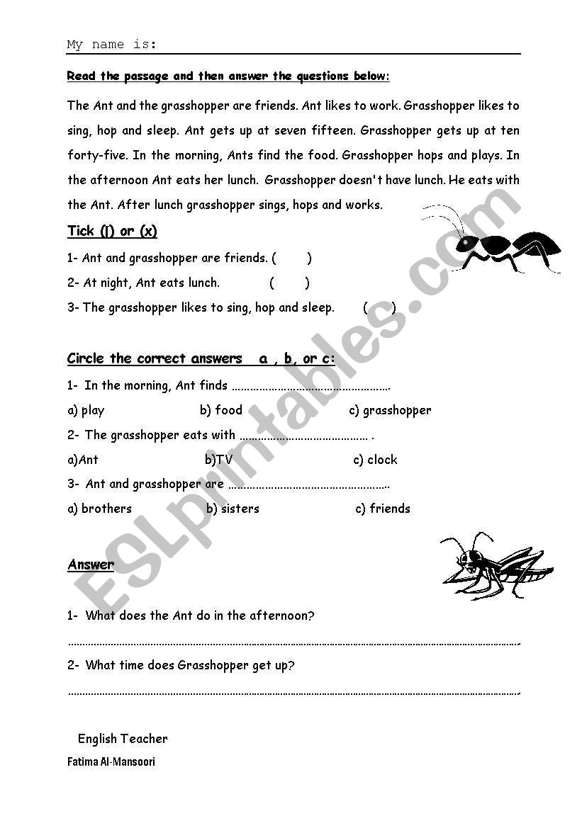 image about The Ant and the Grasshopper Story Printable identified as Ant the Grhopper - ESL worksheet via atmtm
