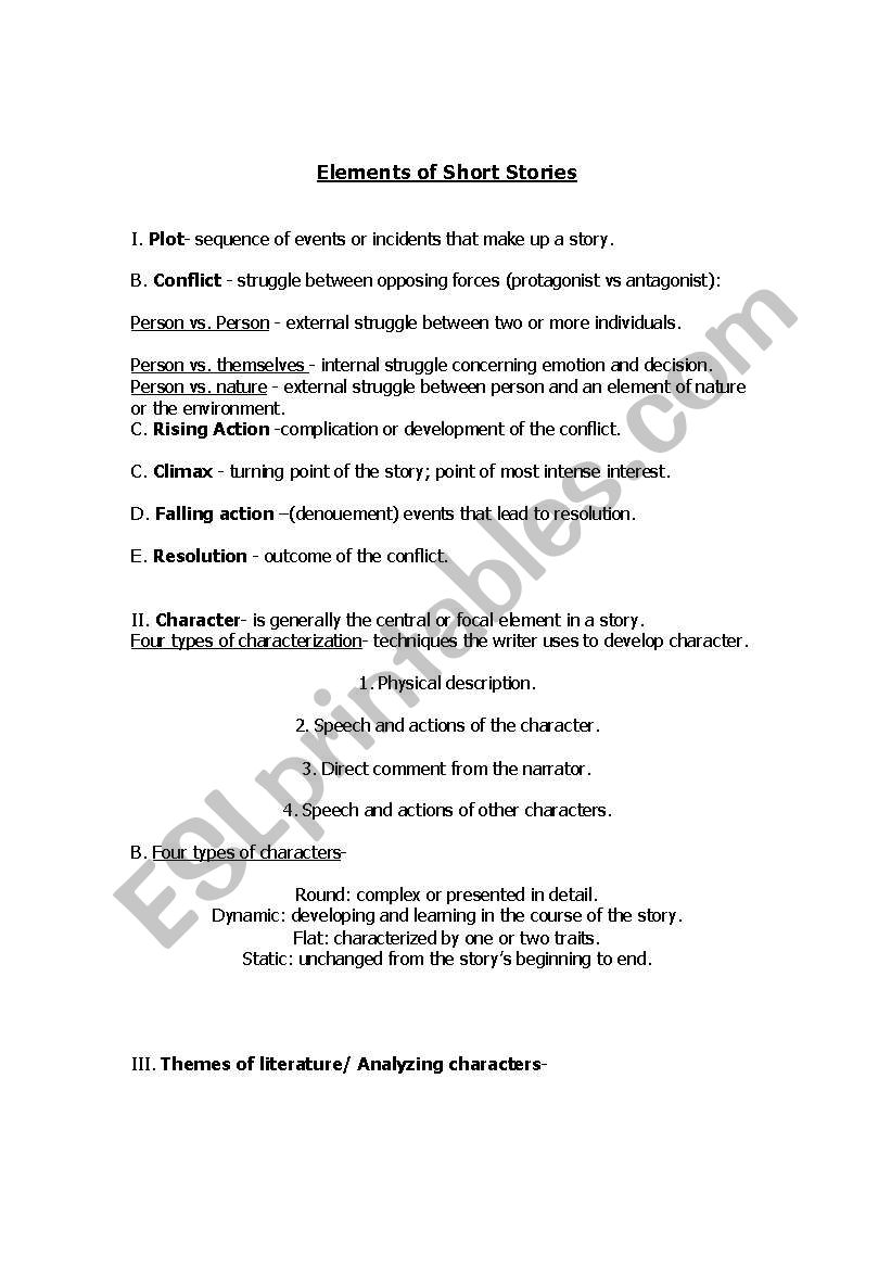 Short Story Elements - ESL worksheet by ciales22