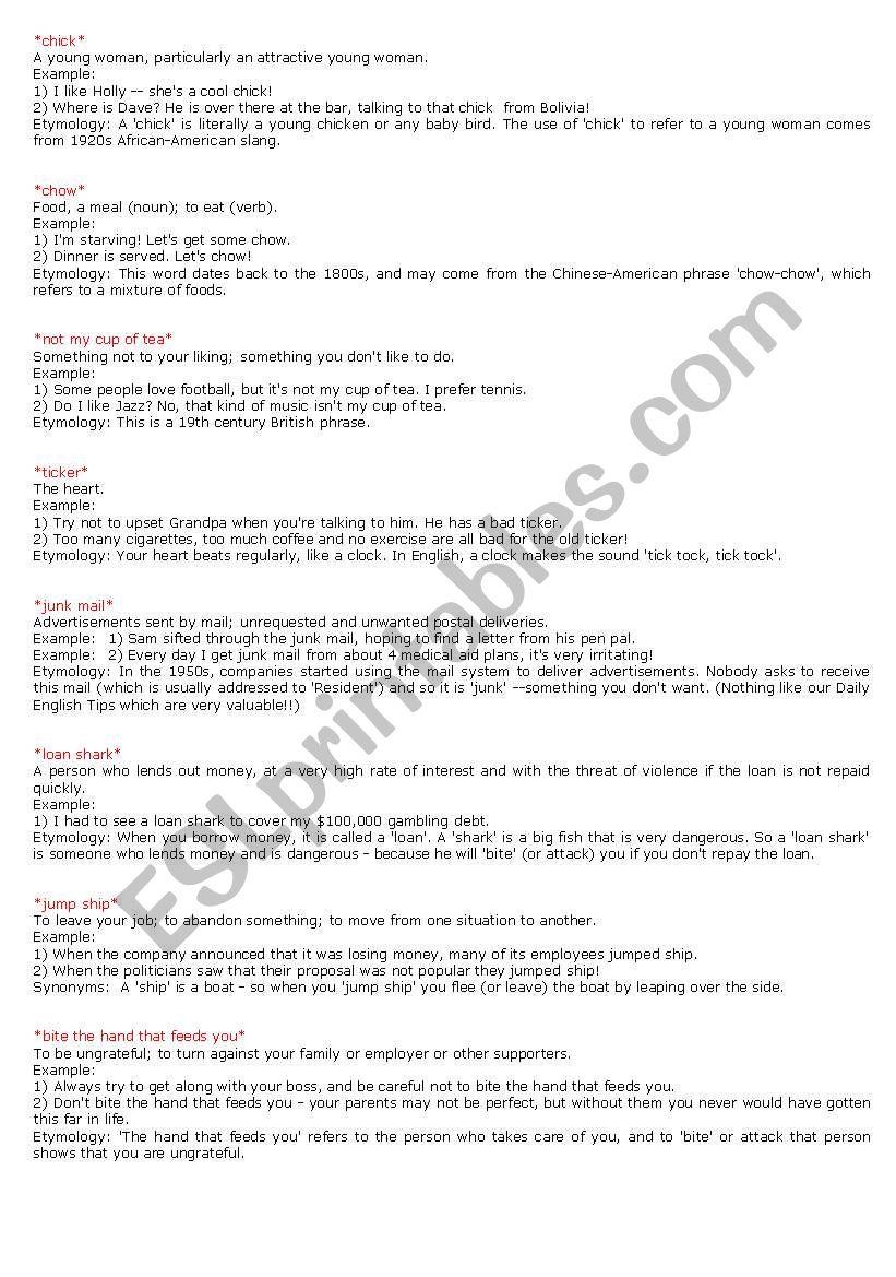 slangs - ESL worksheet by Eduzinhu
