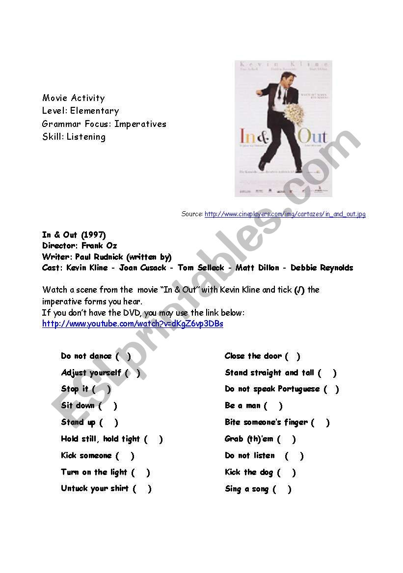 Movie Activity: In & Out worksheet
