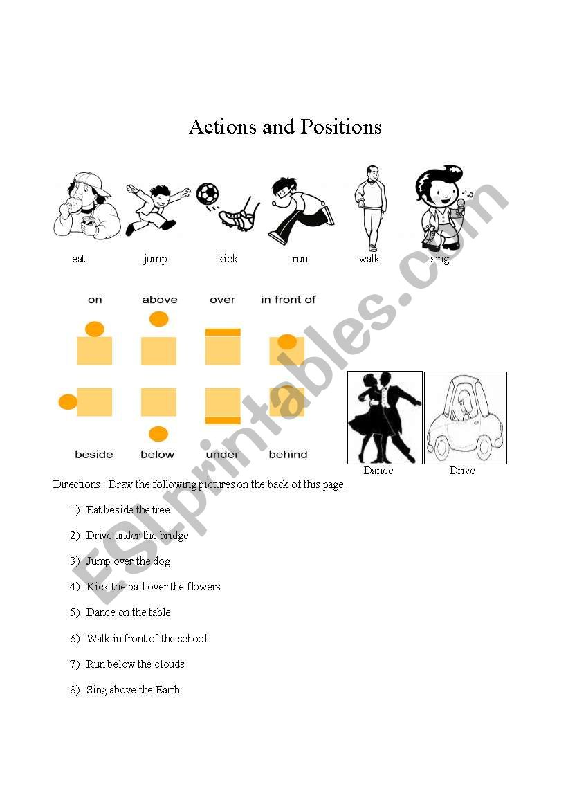 Preposition In Learn In Marathi All Complate: English Worksheets: Drawing Prepositions And Actions
