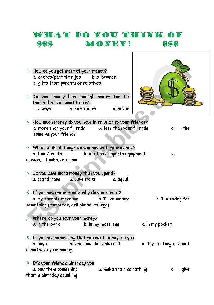 What do you think of money? worksheet