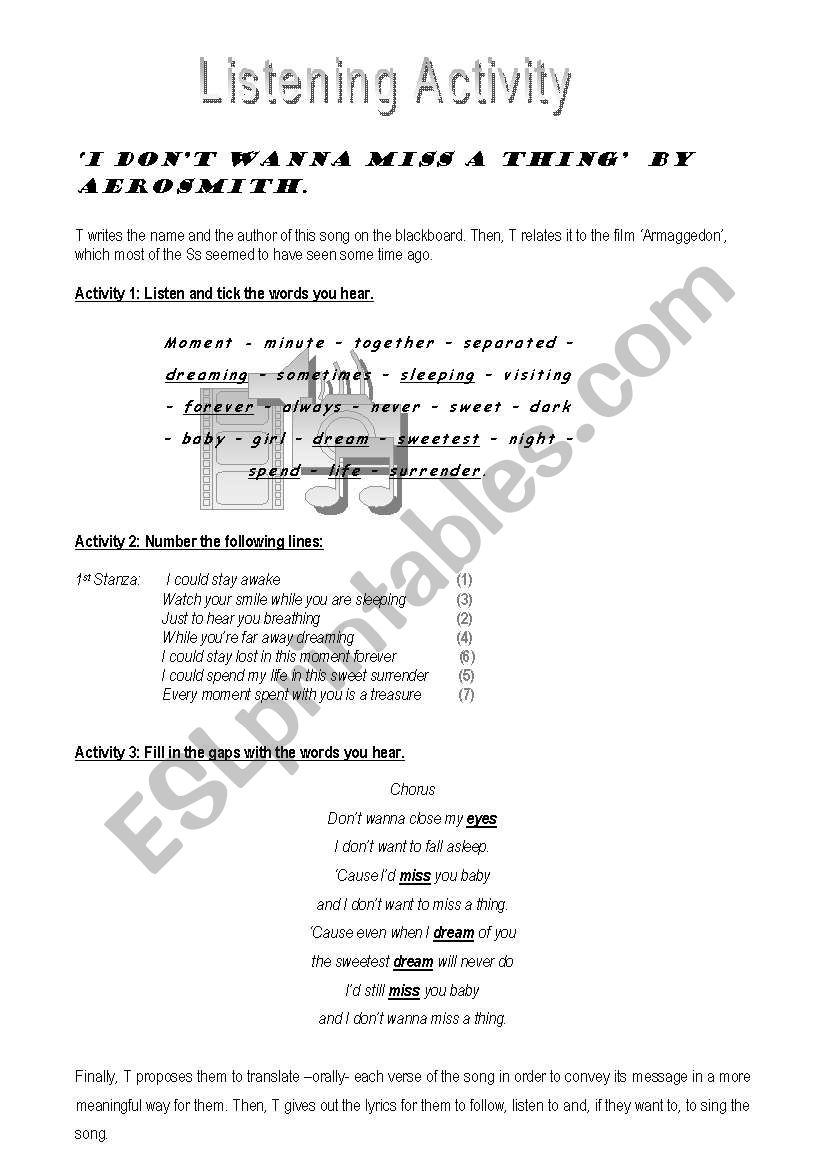 Aeorsmith - I don´t wanna miss a thing - ESL worksheet by sheilacoli