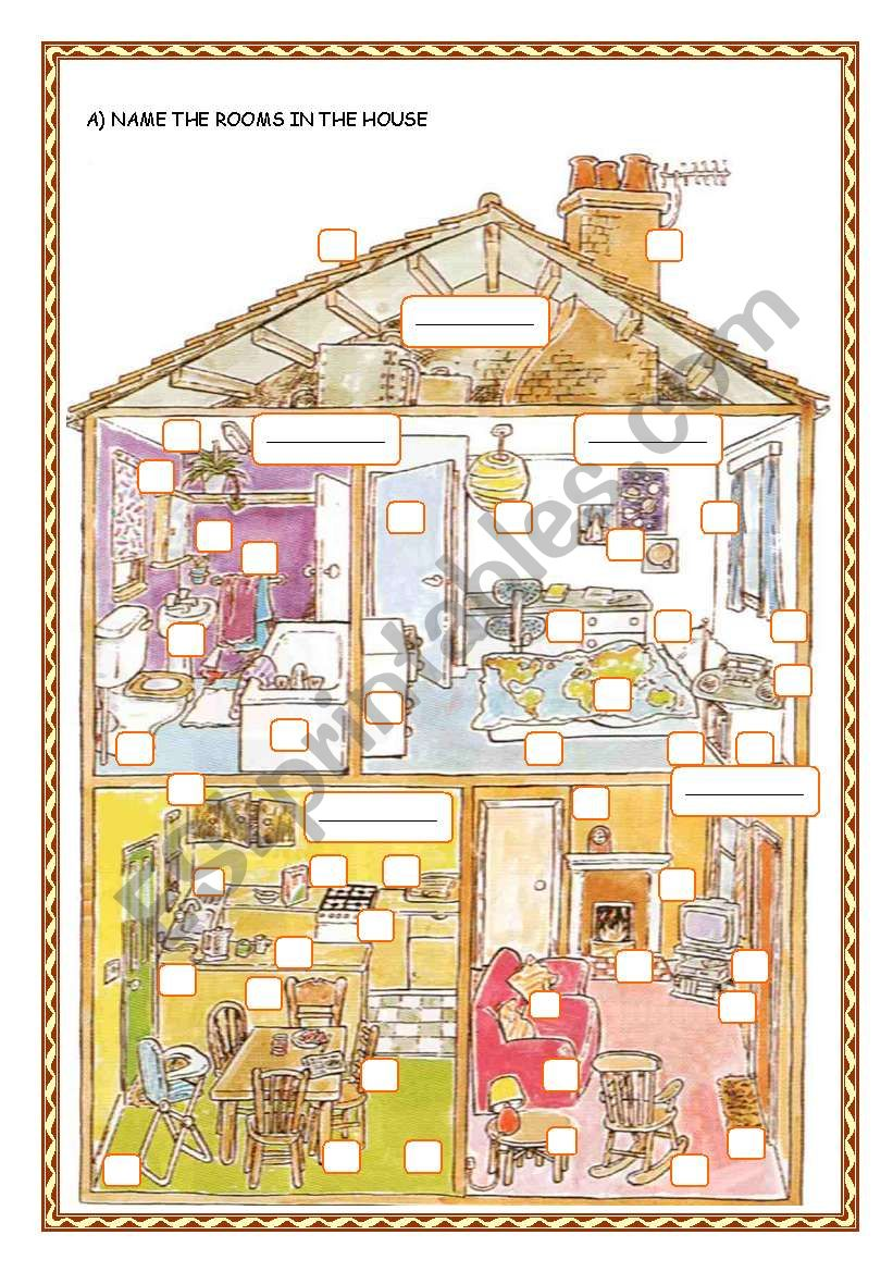 IN THE HOUSE/ THERE + BE worksheet