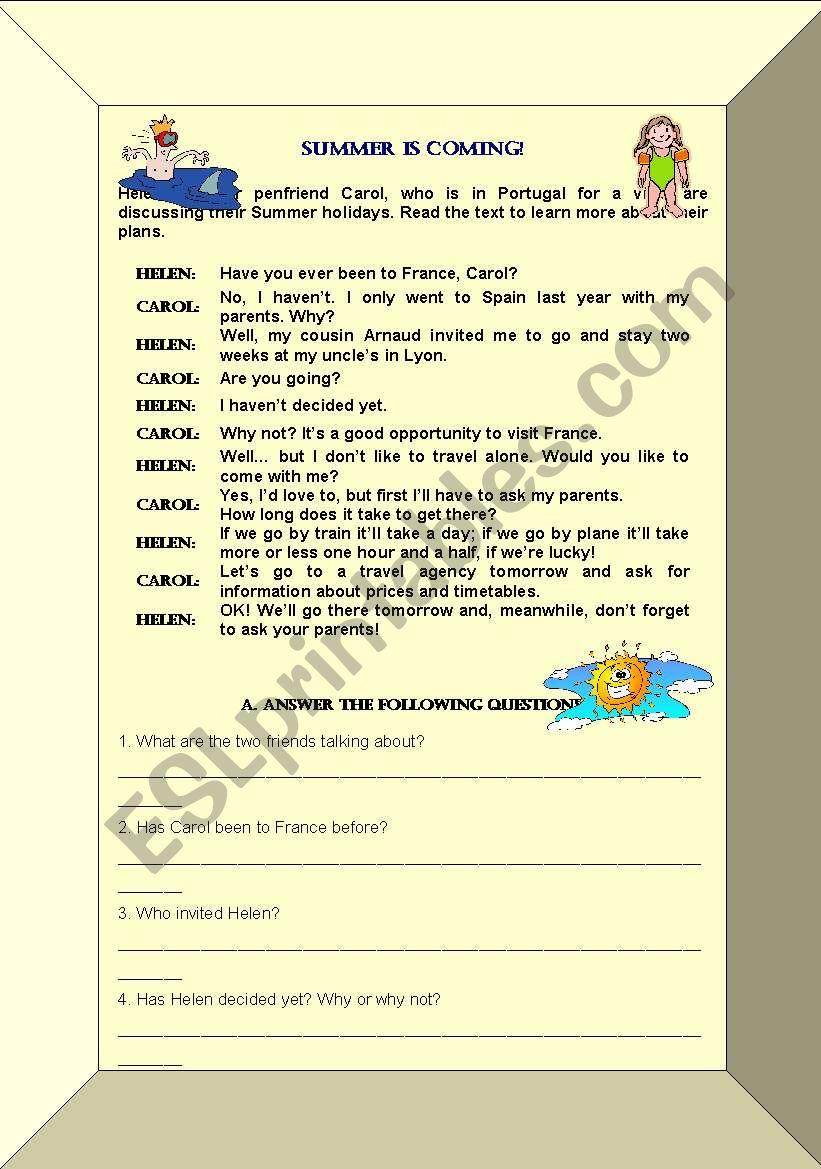 summer holidays reading comprehension and grammar exercises esl worksheet by smorais. Black Bedroom Furniture Sets. Home Design Ideas