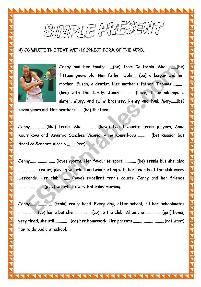 - PRESENT SIMPLE / READING COMPREHENSION - ESL Worksheet By