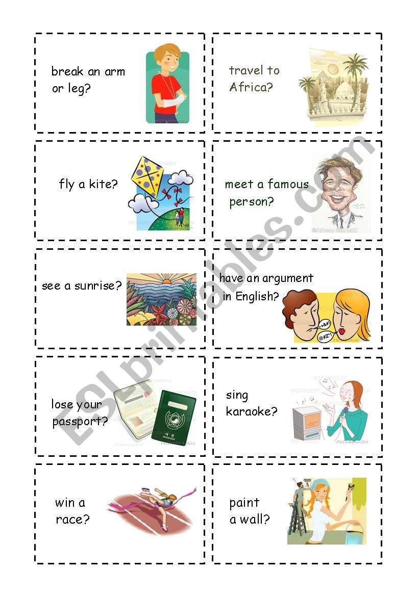 Have you ever? part 1 worksheet