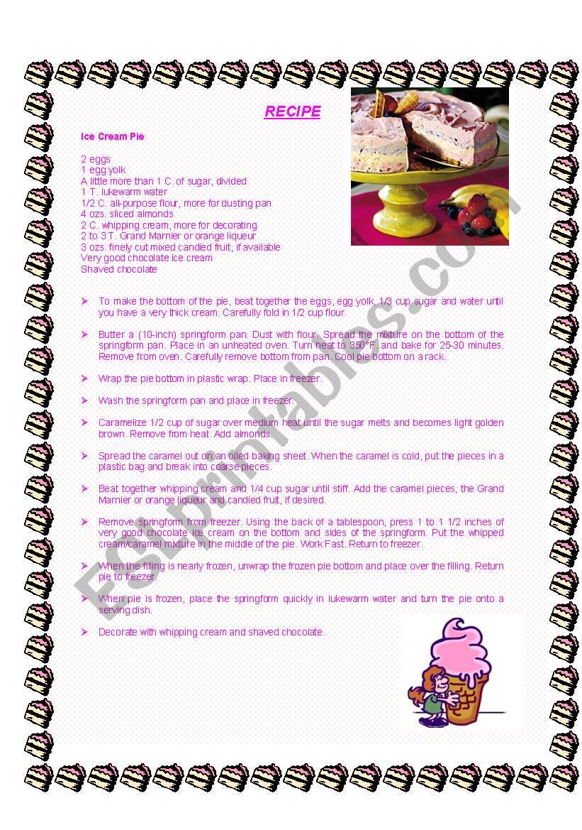 Worksheet Parts Of A Recipe : Recipe first part reading esl worksheet by gisa