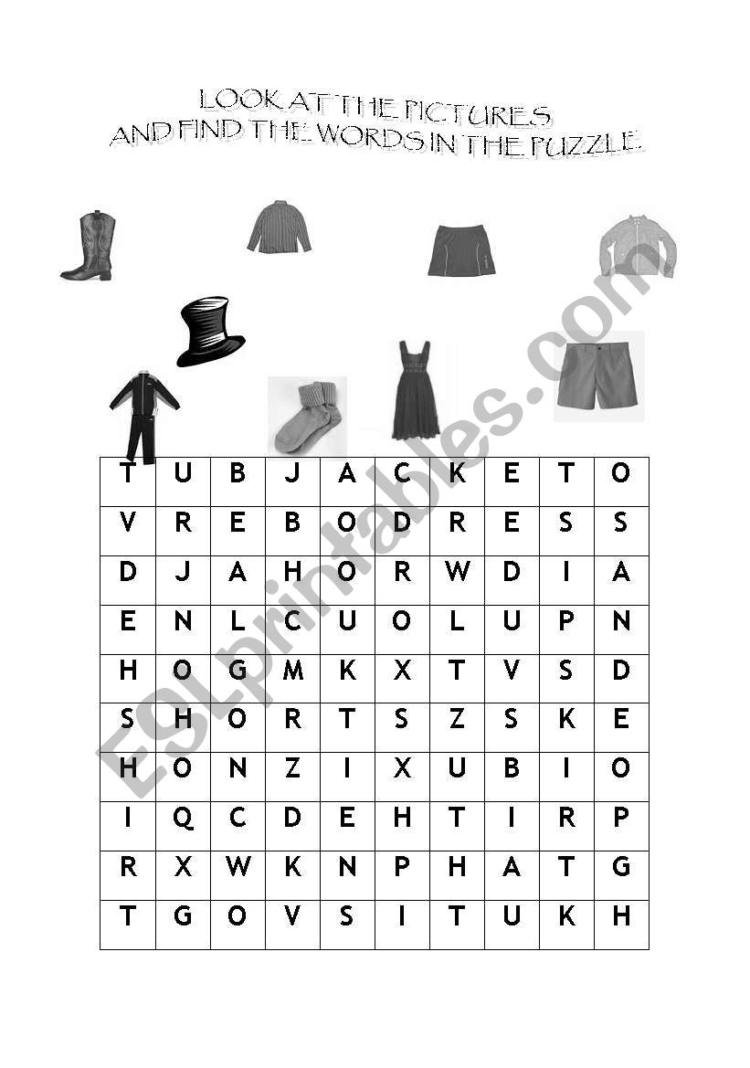 English Worksheets Clothes Puzzle
