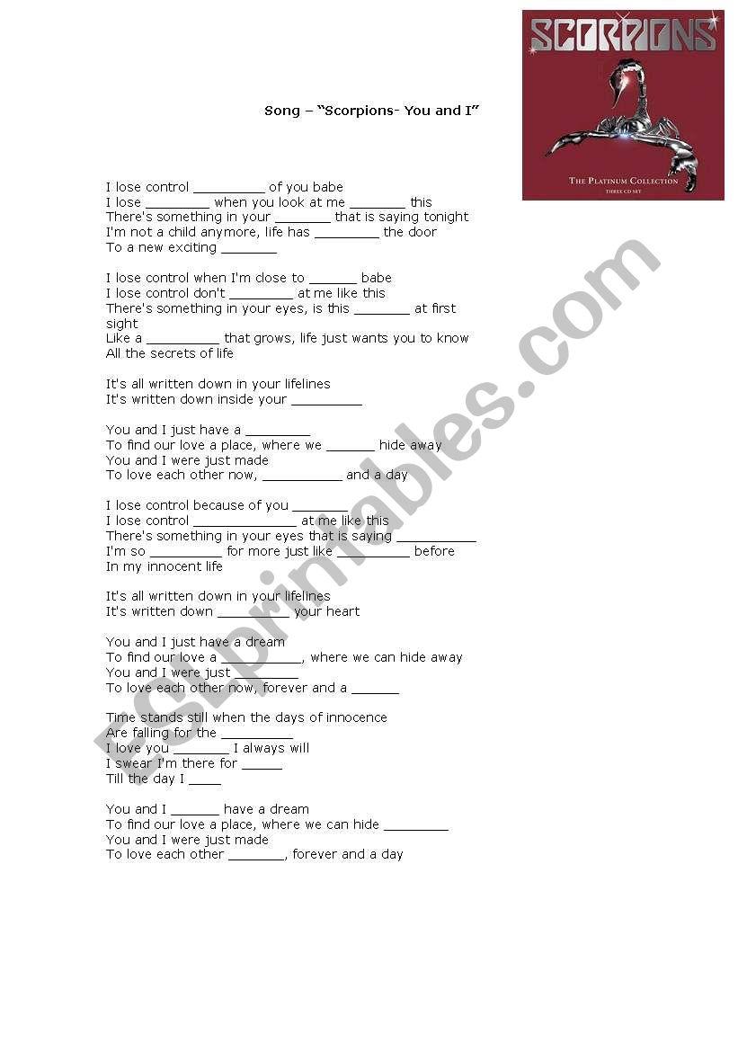 Lyrics You and I - Scorpions worksheet