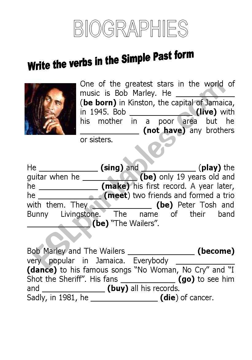 Biographies worksheet