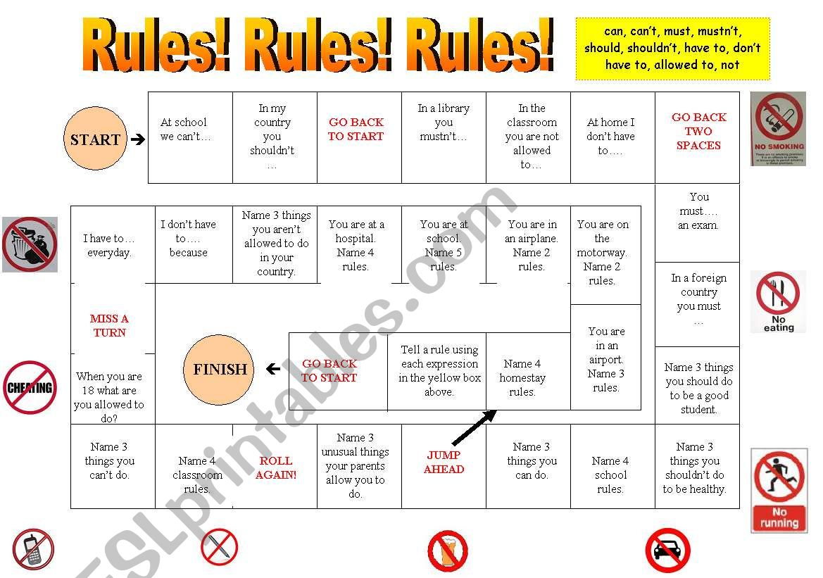 Rules game worksheet