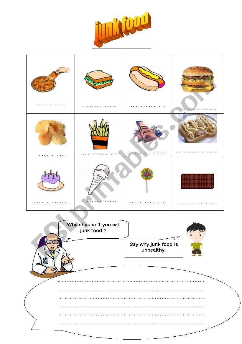 JUNK FOOD   ESL worksheet by firstime