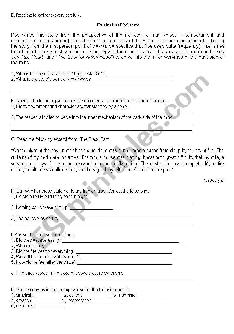 Poe´s The Black Cat, part 2 worksheet