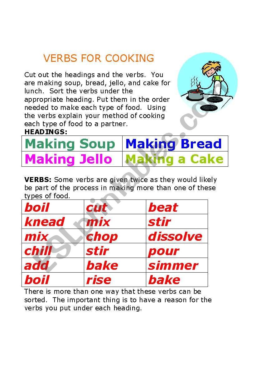 Verbs for Cooking worksheet