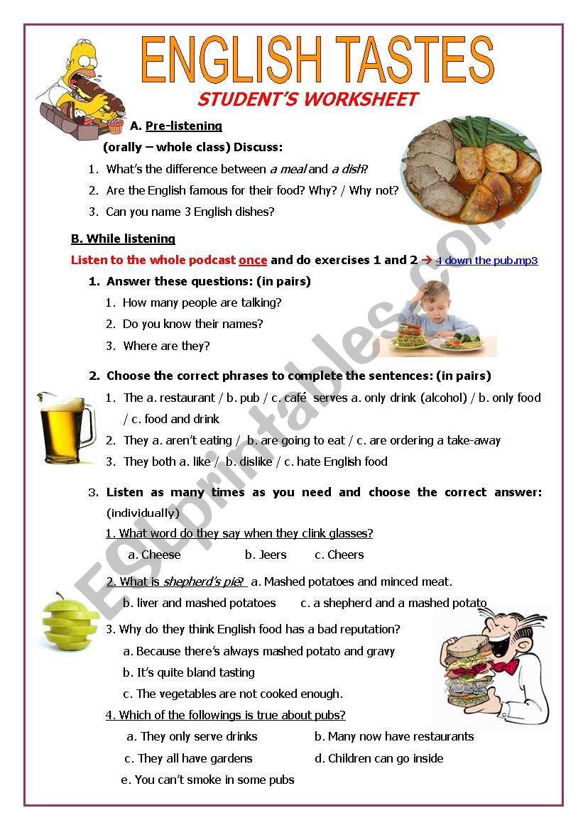 English Tastes worksheet