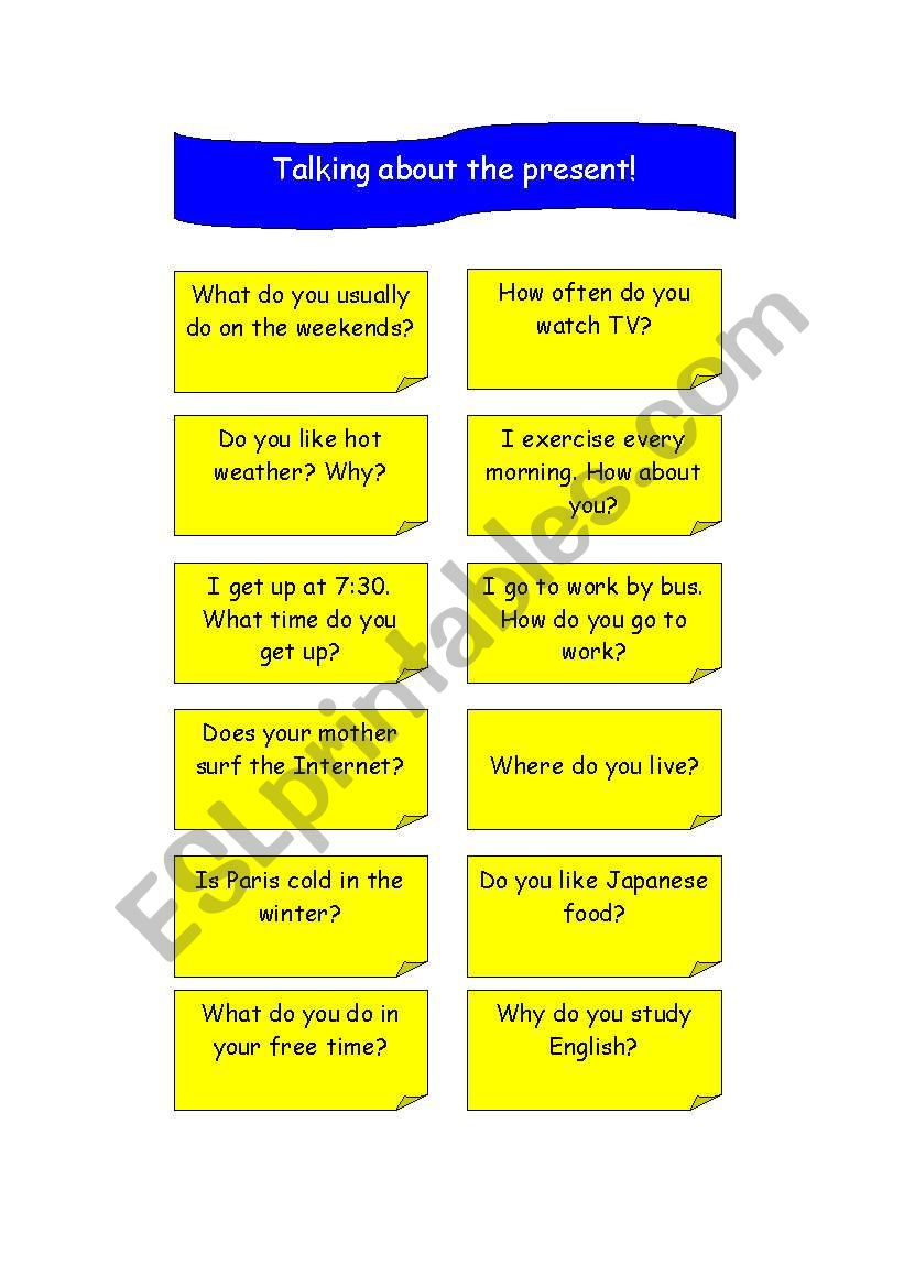 TALKING ABOUT THE PRESENT! worksheet