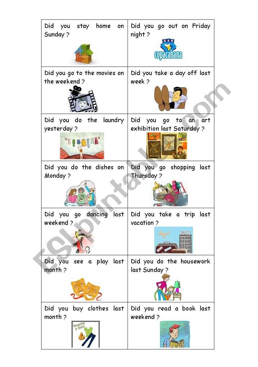 Simple Past Cards worksheet