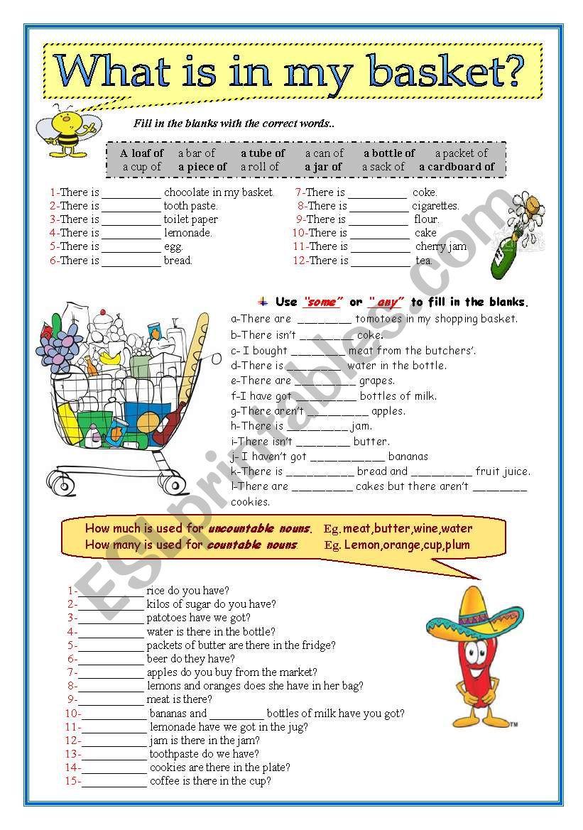 What is in my basket? worksheet