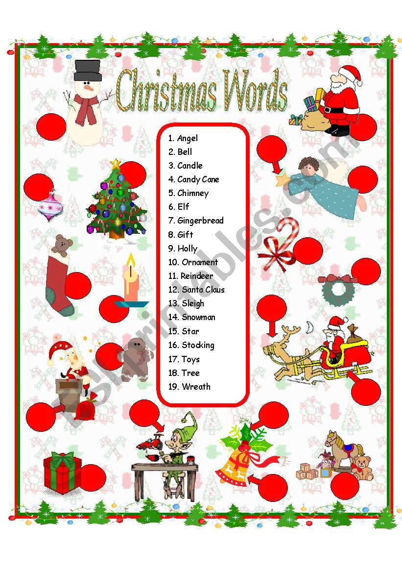 116147_1-Christmas_Vocabulary Xmas Worksheets Esl on for advanced, family tree, daily routine, first conditional, question words, high intermediate, for beginners weeks, phrasal verbs, free newcomer,