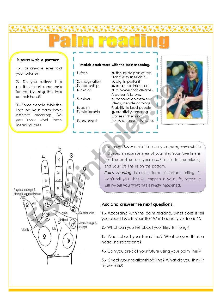 Palm reading (3 pages) worksheet