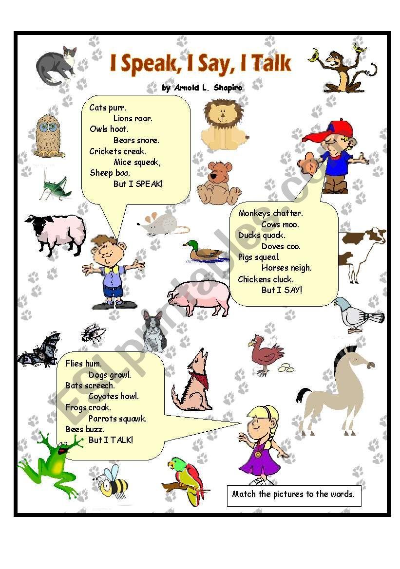 i speak i say i talk animal sounds esl worksheet by anna p. Black Bedroom Furniture Sets. Home Design Ideas