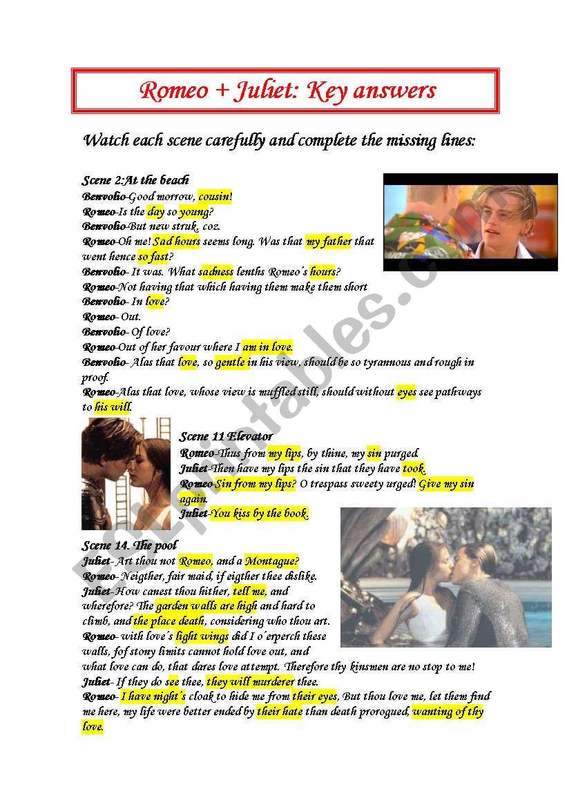 Romeo and Juliet Scenes keys  worksheet