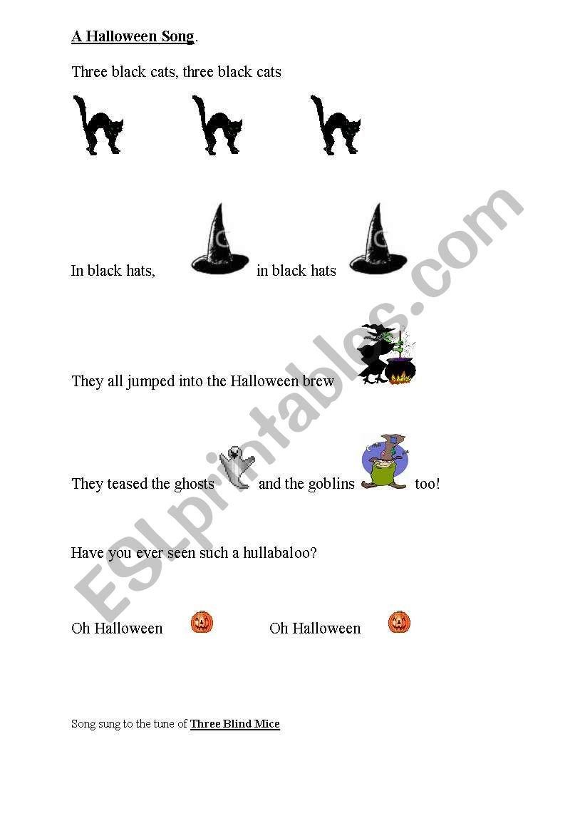 A Halloween Song worksheet