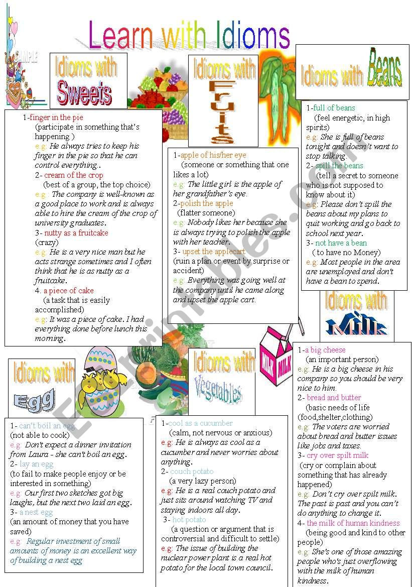 Learn with Idioms ( Part 5) worksheet