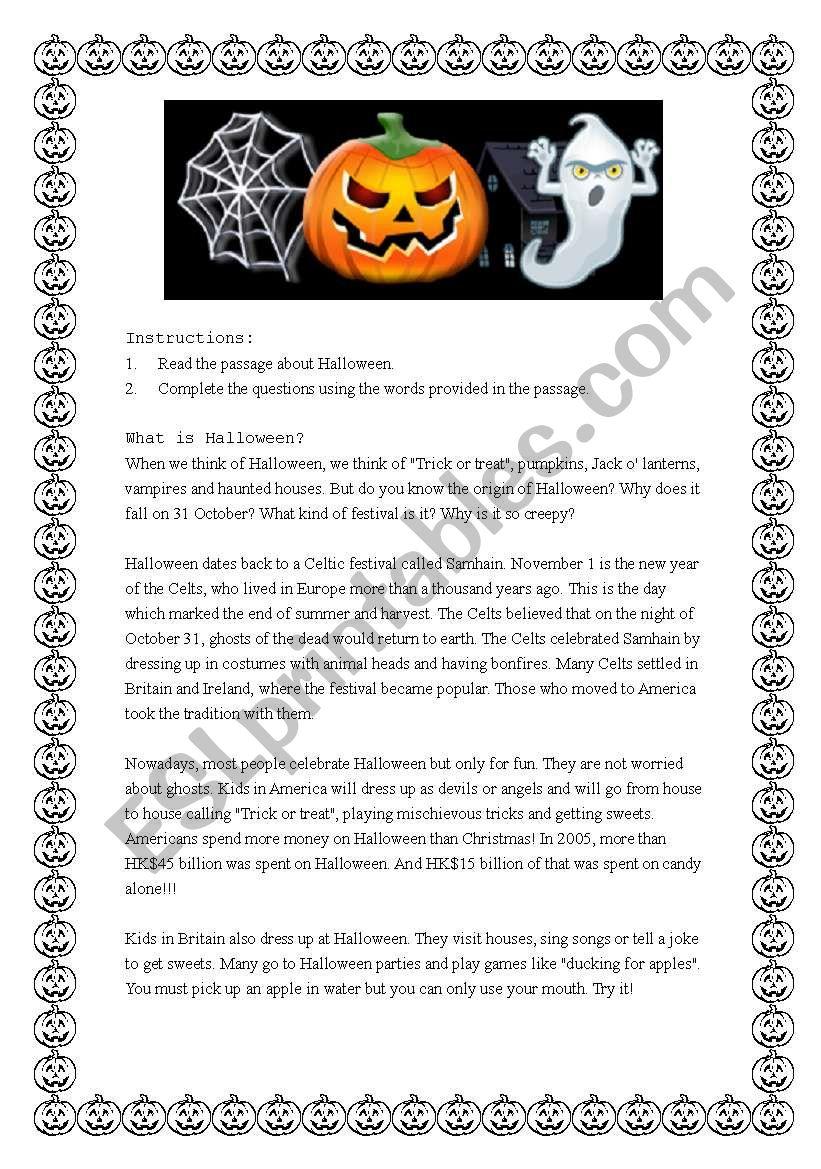 Reading comprehension on Halloween - ESL worksheet by mj_ay2002