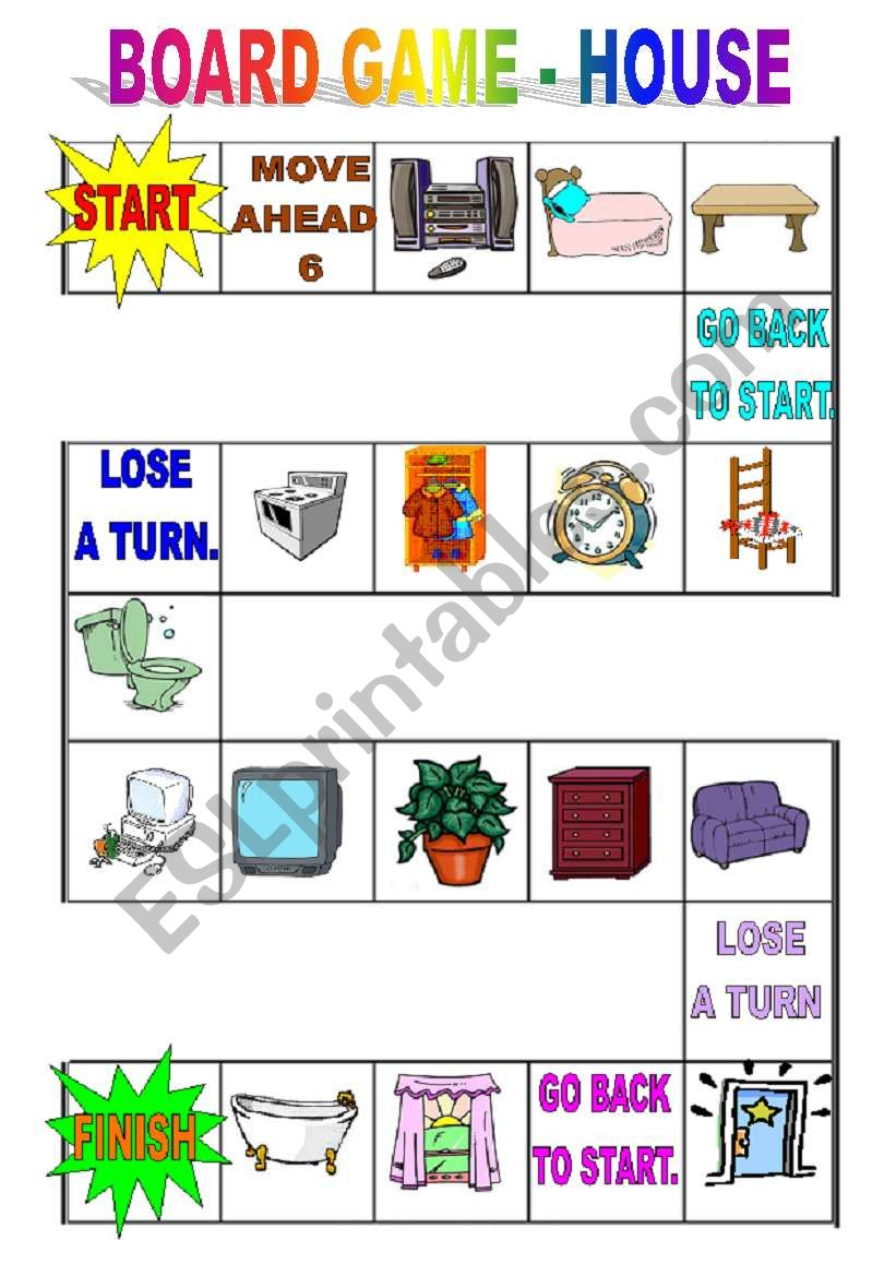 Board Game House Furniture Esl Worksheet By Danca