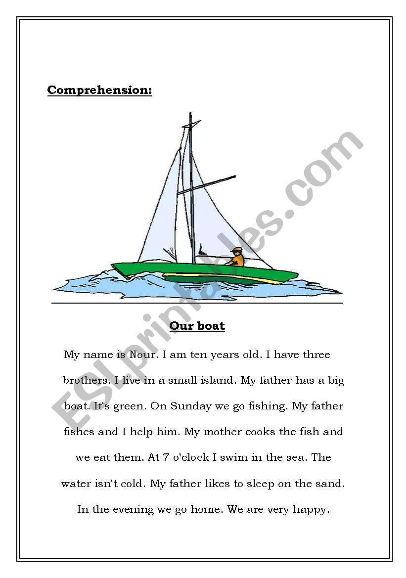 Comprehension Our Boat worksheet