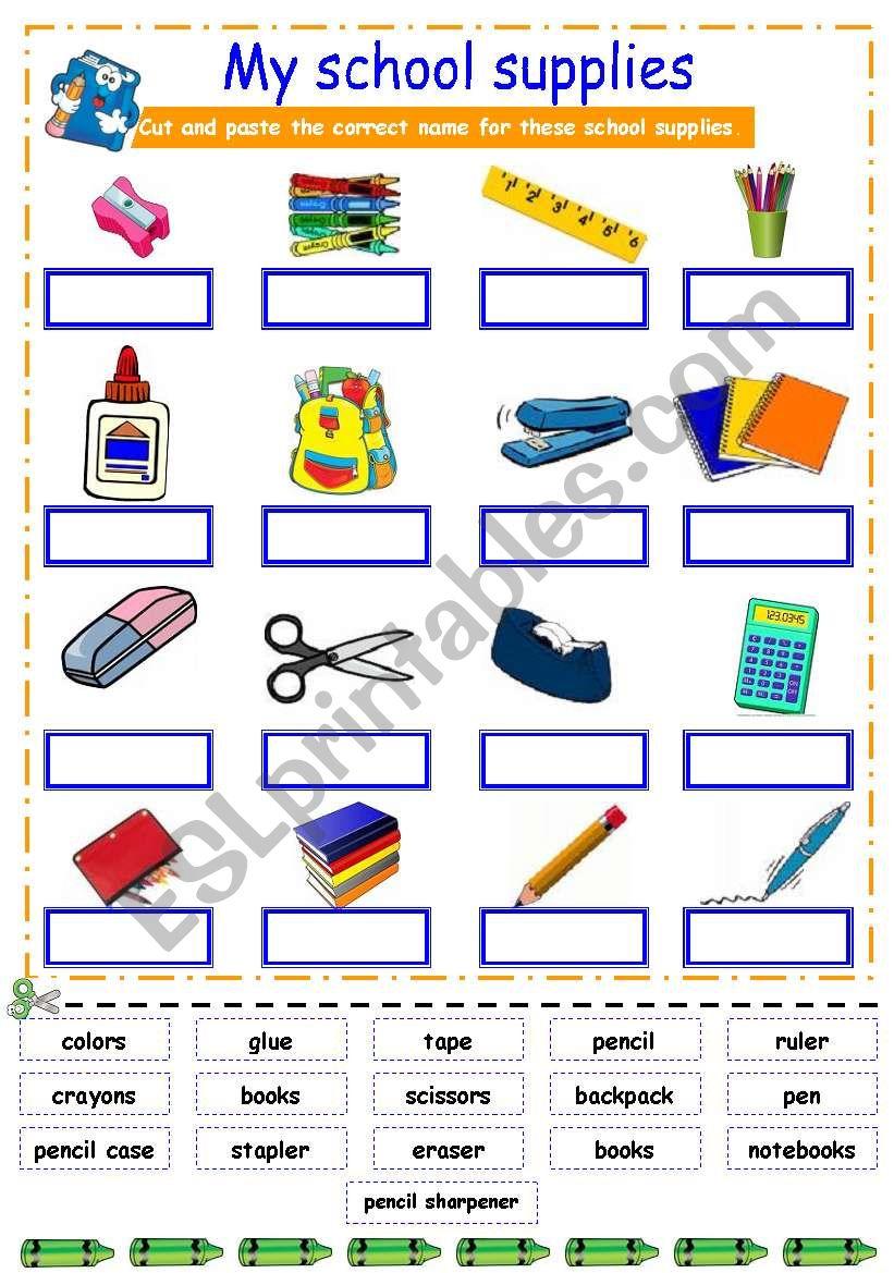 SCHOOL ITEMS WS worksheet - Free ESL printable worksheets ... |Esl Classroom Supplies