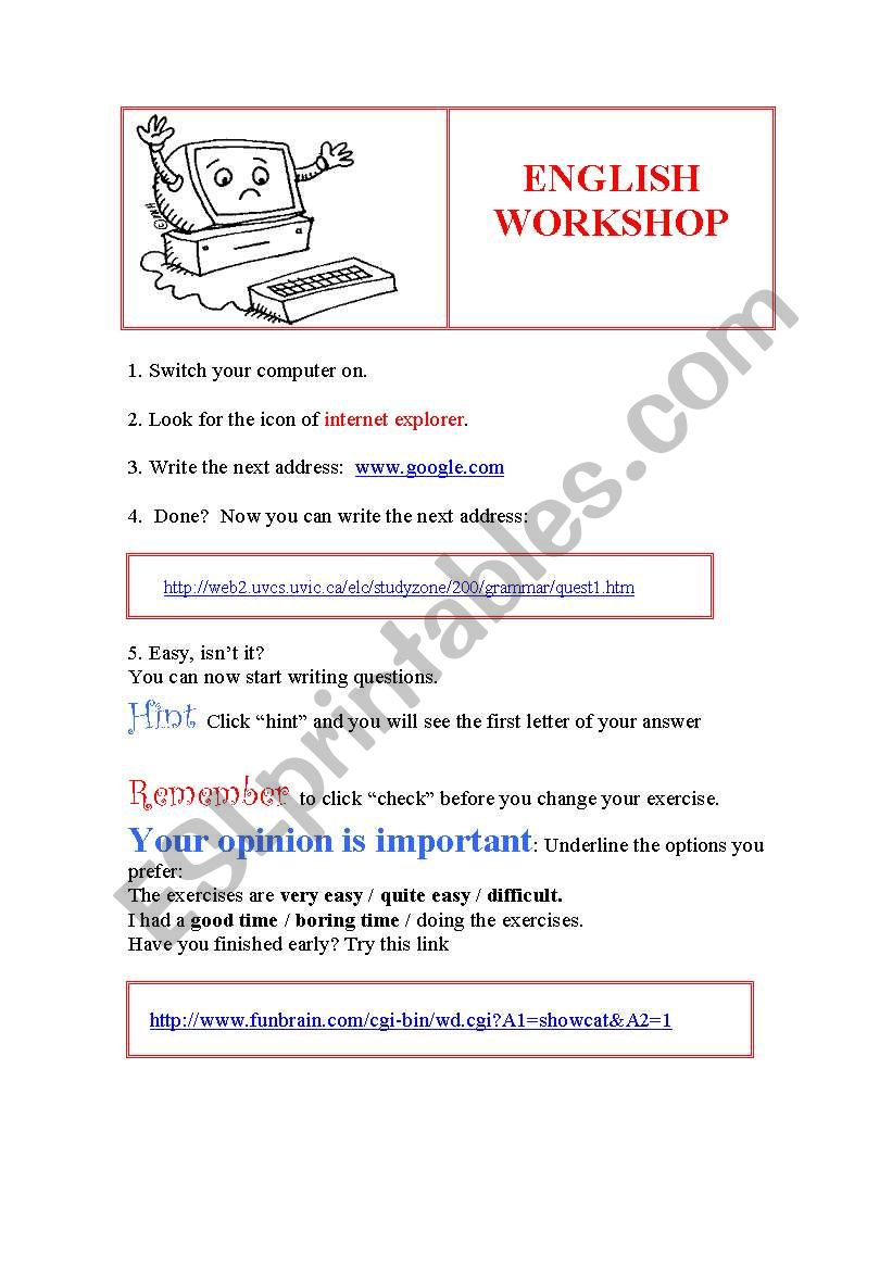 English workshop: A computer activity for beginners