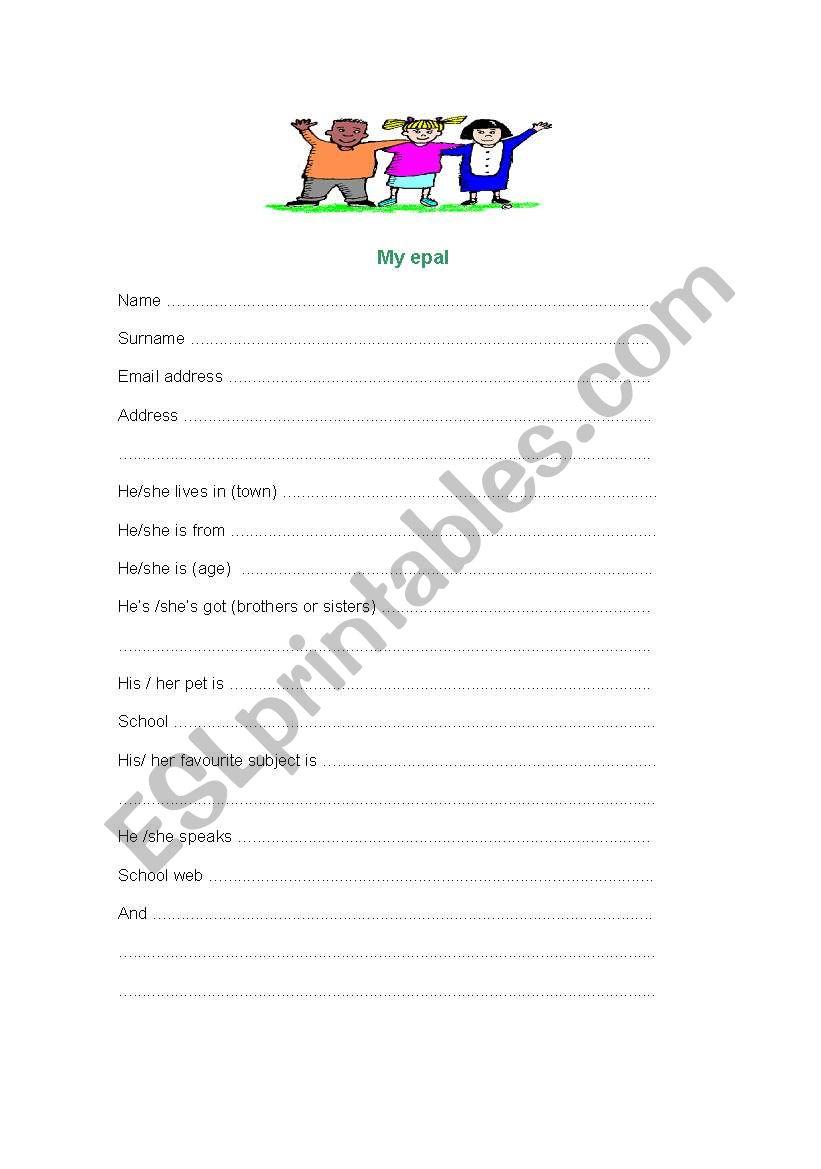 My epal worksheet