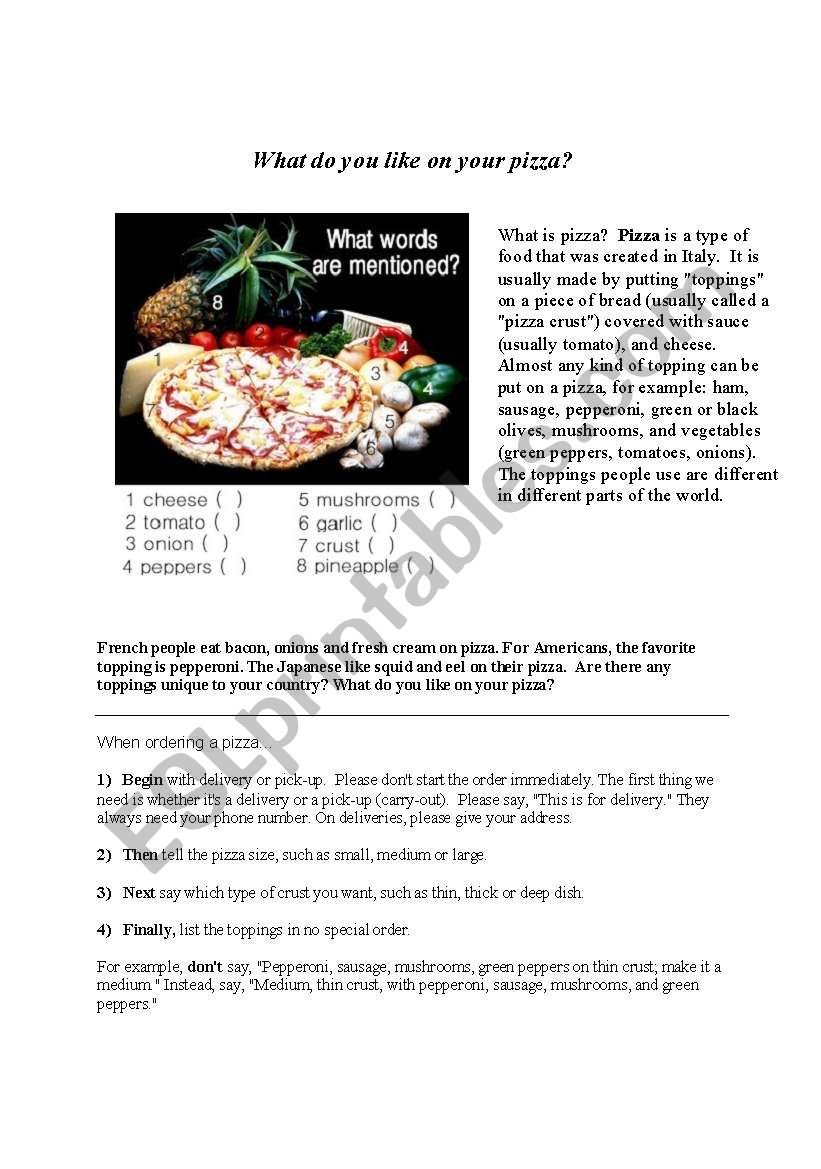 Ordering Pizza by Telephone worksheet