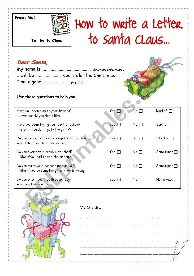 A letter to Santa Claus worksheet